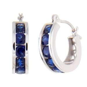 10k White Gold Channel Set Created Sapphire Hoop Earrings