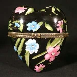 Black Floral Valentine Heart Hinge Trinket Box phb