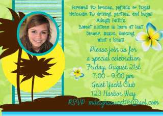 Luau Hula Girl Birthday Baby Shower Invitation