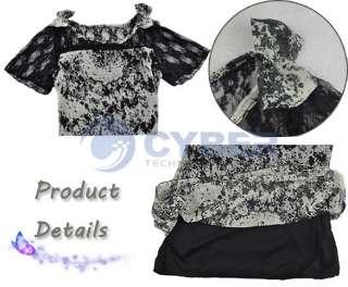 Womens Korea Sexy Lace Chiffon Mini Dress With Belt New