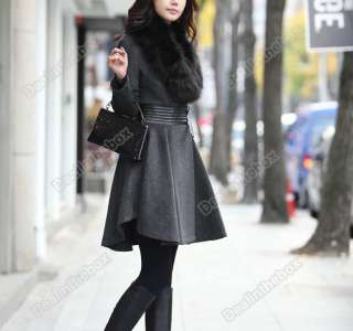 Ladys Winter Elegant Slim Fit Long Fashion Coat Jacket Woolen Outwear
