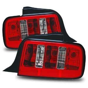 05 09 Ford Mustang Red/Clear Tail Lights (2010 Style