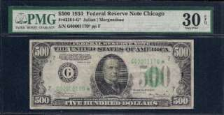 34 $500 Five Hundred Dollar Bill **STAR** PMG 30 EPQ Graded Federal