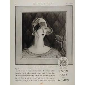 1927 Vintage Print Ad Knox Womens Lady Hat Art Deco   Original Print