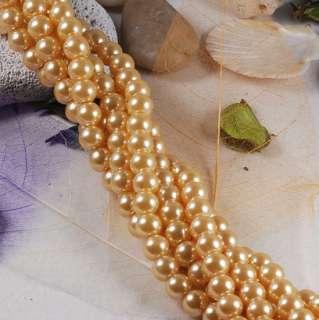 fkn1005 10mm A+ GOLDEN CRYSTAL GLASS ROUND PEARL BEAD