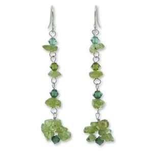 Green Peridot Drop Earrings, Waterfall 0.6 W 2.2 L Jewelry