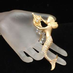 Mermaid Shell Brooch Pin Kirks Folly Rhinestones Figural