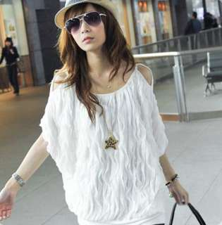 girl sexy white summer Off Shoulder Batty Top Blouse Shirts