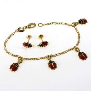 Gold 18k GF Red Ladybug Bracelet Pendant Earrings Childs Charm Girl