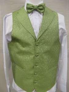 Mens Suit Tuxedo Dress Vest Necktie Bowtie Hanky Set Lime Green