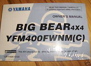 1999 2000 Yamaha Big Bear Owners Manual YFM400 YFM 400