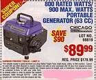 COUPON Harbor Freight 800 RATED/900 MAX WATT PORTABLE GENERATOR $59.99