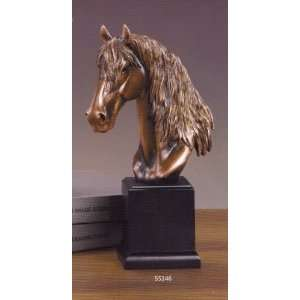 Medium Size Long Mane Horse Head Bronze Color Resin Sculpture 12 Tall