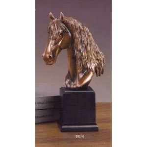Medium Size Long Mane Horse Head Bronze Color Resin Sculpture 12 Tall
