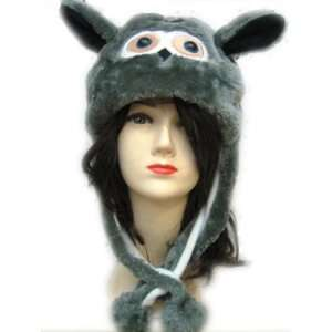 Plush Owl Animal Hat   Owl Hat with Ear Flaps and Poms