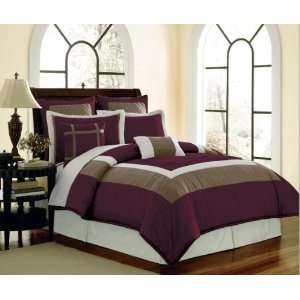 8 Pc High Quality Purple / Taupe Complete Comforter Set