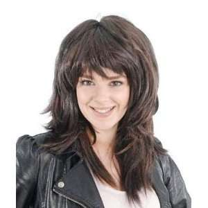 80s Brown Feather Cut Fancy Dress Wig Inc FREE Wig Cap Toys & Games