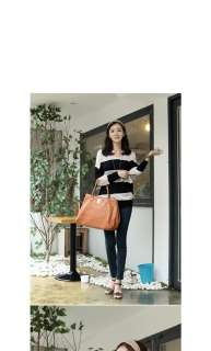 New Womens Fashion Korean Loose Long Sleeve Stripes T Shirt Blouse
