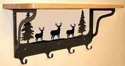 Deer Wall Hook Rack With Shelf   Coat Hat Towel Rack   Rustic Wildlife