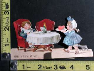 Vintage Valentine Made in Germany   Girl with Heart on Tray & Boy