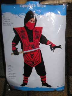 FUNWORLD CHILD COMPLETE RED NINJA HALLOWEEN COSTUME SMALL SIZE 4 6