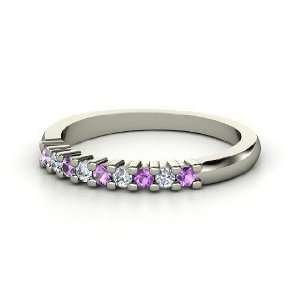 Slim Nine Gem Band Ring, 14K White Gold Ring with Amethyst