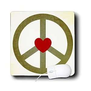 Patricia Sanders Creations   Green Peace Sign with Heart