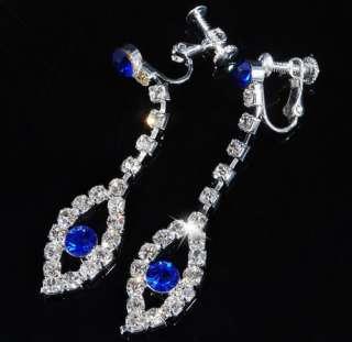NAVY BLUE RHINESTONE BRIDAL EVENING Bib NECKLACE 1SET