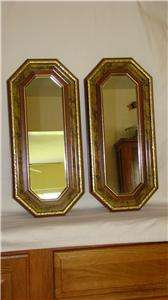 Homco Home Interiors Accent Wall Mirrors Wood w/ Gold Trim