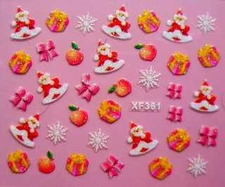 CHRISTMAS 3D NAIL DESIGNS /ART/STICKERS 23 DESIGNS IDEAL XMAS GIFTS UK