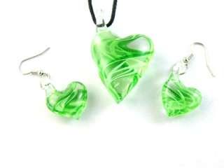 g257 Lovely MultiColors Heart Shape Murano Lampwork Glass Pendant