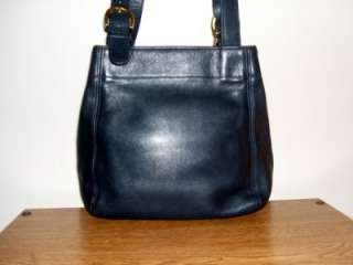 WAVERLY SOHO VTG LEATHER SHOULDER BAG TOTE NAVY BLUE MOTHERS DAY GIFT