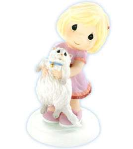 New PRECIOUS MOMENTS Figurine GIRL WHITE CAT Kitten ☆
