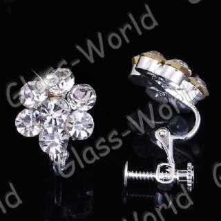 Flower Rhinestone Crystal Necklace Earrings Clear Set