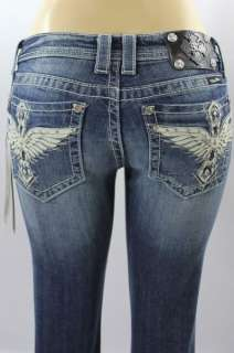 BNWT Miss Me Jean Ladies Wings Stones Boot Jeans Pants