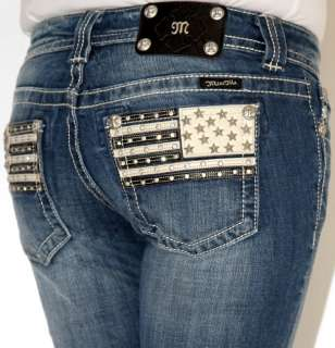 Womens Miss Me American Flag Leather Pocket Boot Cut Jeans 26