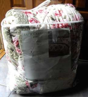 220 LAURA ASHLEY Cottage Chic Pink Sage Shabby Rose Twin COMFORTER