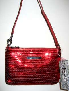 NWT MICHAEL KORS GIFTABLE RED MEDIUM LEATHER AND SEQUINS WRISTLET