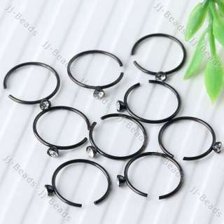 10pc Hoop White Czech Crystal Black Nose Ring Stainless Steel Circle