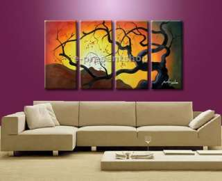 Handmade Landscape Tree Oil Painting On Canvas Bhp434 NY