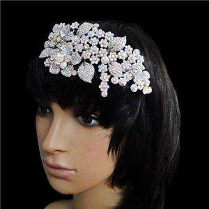 Bridal Flower Head Hair Band Clear AB Swarovski Crystal