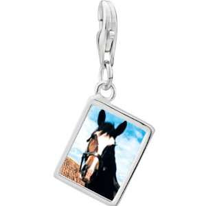 Pugster 925 Sterling Silver Horse Face Photo Rectangle