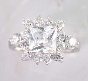 Sterling Silver Square Princess Cut Round CZ Ice Ring