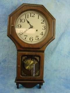 Regulator School House Pendulum Swing Wall Clock Chimes Every Half