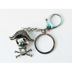 Jet Black Rhinestone Ice Cartoon Pirate Skull Hat Crossbone Keychain