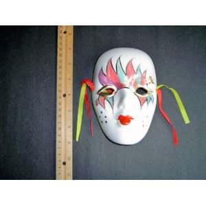 Ceramic Mardi Gras Face Mask for Wall   Bisque   B