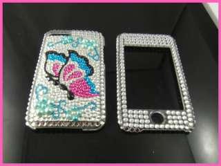 Bling Crystal Full Hard Case for iPod Touch 2 2G 3G Blue TC72