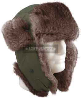 Military Cold Weather Fur Flyers Hat With Fur Ear Flaps