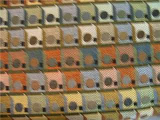 ORANGE✄BROWN BLUE DOTS SQUARES MODERN UPHOLSTERY FABRIC
