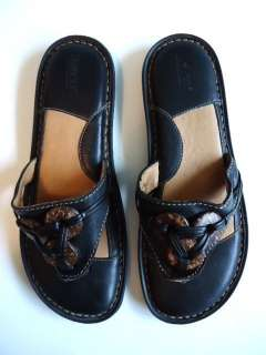 BORN Black Leather Thong Sandals Size 9